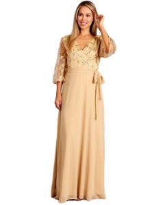 Fanny Fashion Womens Gold Wrapped Sequin Bust Evening Gown XL
