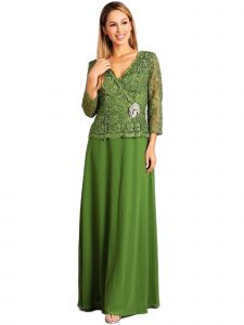 Fanny Fashion Womens Green Lace Scalloped Hem Bodice Evening Gown S-4XL