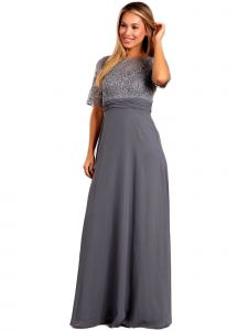 Fanny Fashion Womens Grey Lace Pleated Detail Evening Gown S-4XL
