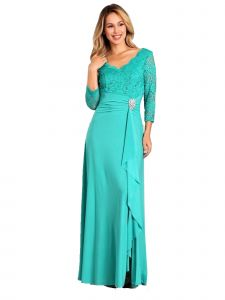Fanny Fashion Jade V-Neck Sequined Lace Bodice Evening Gown S-XXXL