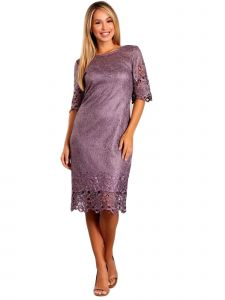 Fanny Fashion Womens Lavender Crochet Embroidered Trim Lace Evening Gown S