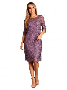 Fanny Fashion Womens Lavender Crochet Lace Knee Length Evening Gown S-4XL