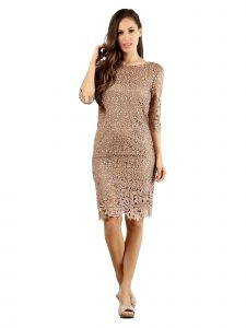 Fanny Fashion Womens Light Brown Crochet Lace Knee Length Evening Gown S-4XL