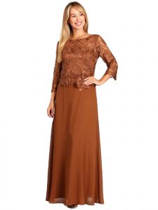 Fanny Fashion Womens Light Brown Lace Pleated Bodice Evening Gown L