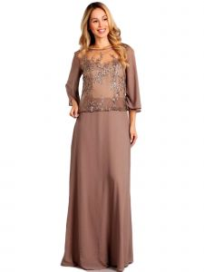 Fanny Fashion Womens Light Brown Sequin Overlay Evening Gown L