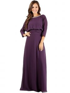 Fanny Fashion Womens Mauve Rhinestone Boat Neck Evening Gown XL