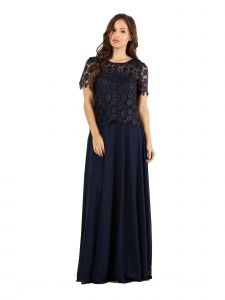 Fanny Fashion Navy Crochet Lace Evening Gown S-4XL