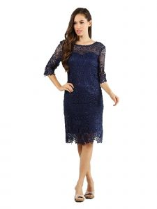 Fanny Fashion Womens Navy Crochet Lace Knee Length Evening Gown XXL
