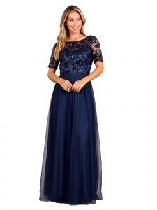 Fanny Fashion Womens Navy Pleated Sequin Bodice Evening Gown S-4XL