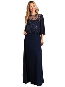 Fanny Fashion Womens Navy Sequin Overlay Evening Gown S-4XL