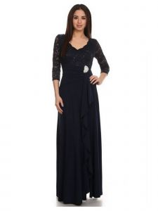 Fanny Fashion Womens Navy V-Neck Sequined Lace Bodice Evening Gown XL