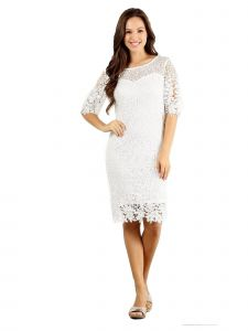 Fanny Fashion Womens Off-White Crochet Lace Knee Length Evening Gown S-4XL