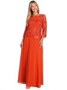 Fanny Fashion Womens Orange Lace Pleated Bodice Evening Gown S-4XL