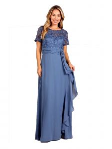 Fanny Fashion Womens Perry Lace Bodice Ruffled Skirt Evening Gown M