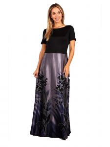 Fanny Fashion Womens Purple Floral Print Skirt Evening Gown M