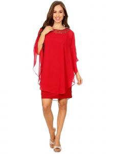 Fanny Fashion Womens Red Crew Neck Chiffon Overlay Evening Gown L