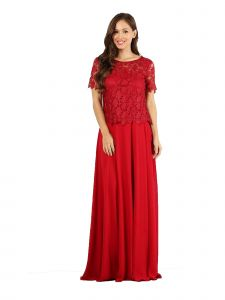 Fanny Fashion Red Crochet Lace Evening Gown S-4XL