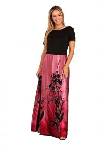 Fanny Fashion Womens Red Floral Print Skirt Evening Gown M-XXL