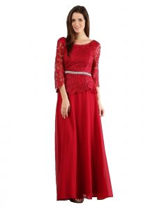 Fanny Fashion Womens Red Lace Rhinestone Belt Peplum Evening Gown L