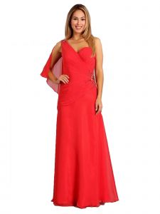 Fanny Fashion Womens Red One Shoulder Jewel Detail Evening Gown S-XXXL
