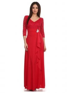 Fanny Fashion Red V-Neck Sequined Lace Bodice Evening Gown S-XXXL