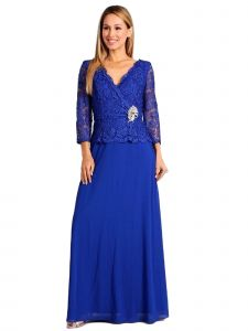 Fanny Fashion Womens Royal Blue Lace Scalloped Hem Bodice Evening Gown L