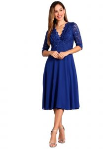 Fanny Fashion Womens Royal Blue Sequined Lace Bodice Evening Gown S-4XL