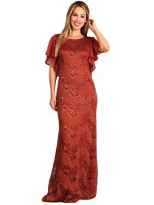 Fanny Fashion Womens Rust Ruffled Sleeves Lace Evening Gown S-4XL