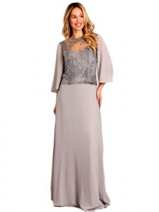 Fanny Fashion Womens Silver Sequin Overlay Evening Gown S