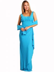Fanny Fashion Womens Turquoise Ruched Slit Skirt Evening Dress S-XXXL