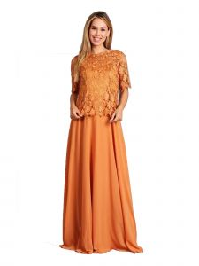 Fanny Fashion Yellow Crochet Lace Evening Gown S-4XL