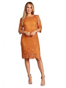 Fanny Fashion Womens Yellow Crochet Lace Knee Length Evening Gown S-4XL
