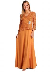 Fanny Fashion Womens Yellow Lace Scalloped Hem Bodice Evening Gown L