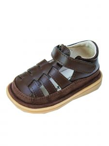 Mooshu Trainers Boys Chocolate Closed Toe Fisher Squeaky Sandals 3-4 Baby