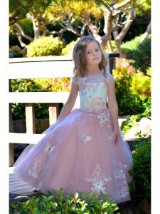 Girls Ivory Pink Butterfly Applique Train Flamingo Flower Girl Dress 2-7