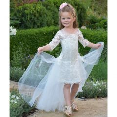 Triumph Dress Little Girls Ivory Lace Train Florine Flower Girl Dress 4-6