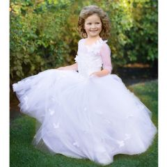Triumph Dress Girls White Butterfly Crystal Adorned Flower Girl Dress 4-10
