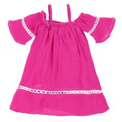 Lele For Kids Little Girls Fuchsia Threaded Woven Detailed Dress 2T-6
