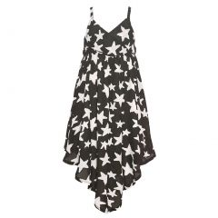 Lele For Kids Big Girls Black Contrast Star Print Angled Hem Dress 8