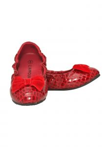 L'Amour Girls Red Croc Embossed Bow Elasticized Flats 5-10 Toddler