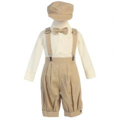 Lito Little Boys Khaki Suspenders Short Pants Hat Easter Outfit Set 2-4T