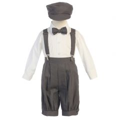 Lito Baby Boys Charcoal Suspenders Short Pants Hat Easter Outfit Set 3-24M