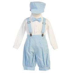 Lito Baby Boys Light Blue Suspenders Short Pants Hat Easter Outfit Set 3-24M