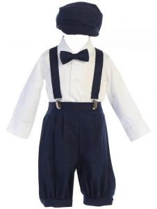 Lito Baby Boys Navy Suspender Knickers Hat Shirt Bow 5 Pc Set 0-24M