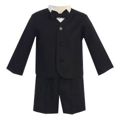 Lito Baby Boys Black Eton Short Formal Ring Bearer Easter Suit 6-24M