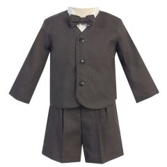 Lito Baby Boys Charcoal Eton Short Formal Ring Bearer Easter Suit 6-24M