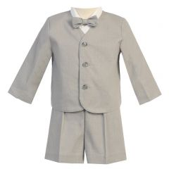 Lito Little Boys Light Gray Eton Short Formal Ring Bearer Easter Suit 2T-5