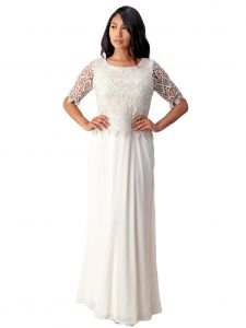Fanny Fashion Womens Pearl Crochet Lace Overlay Evening Gown M-4XL