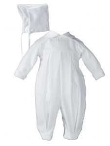Baby Boys White Long Sleeve Embroidered Pleated Hat Christening Outfit 0-12M