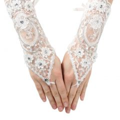Girls White Rhinestone Floral Lace Fingerless Communion Flower Girl Gloves